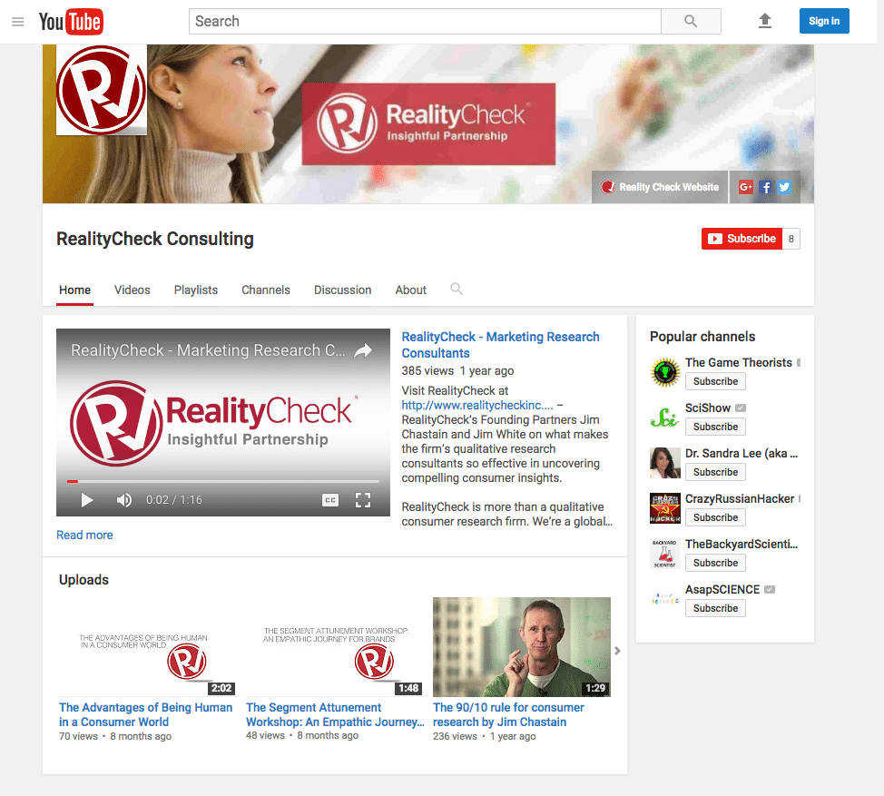 Check out the YouTube channel & video series we created for out client RealityCheck Consulting.