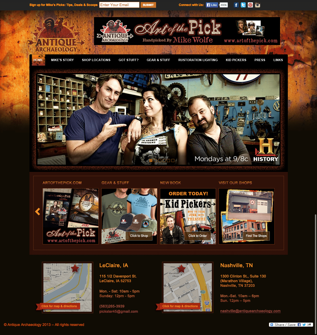 Mike Wolfe Retail Shop Website