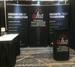 We also designed the Aha! trade show exhibit and negotiated their conference sponsorship programs.  Sponsorships include roundtable discussion leadership, featured demonstrations, email campaigns, and published blogs.